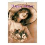 Mujer del vintage con el capo de Pascua Tarjeton