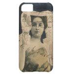 Mujer del vintage con el caso del iPhone 5 de la e Funda Para iPhone 5C