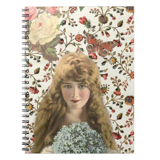 Mujer del vintage con el estampado de flores del c libretas