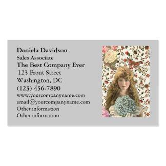 Mujer del vintage con el estampado de flores del c plantillas de tarjetas de visita