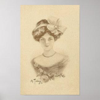 Mujer del vintage con los rosas póster