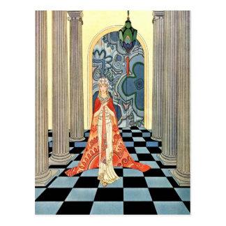 Mujer del vintage del art déco tarjeta postal