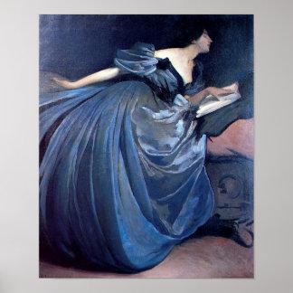 Mujer del vintage en azul posters