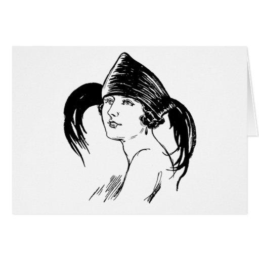 Mujer del vintage en gorra tarjeta de felicitación