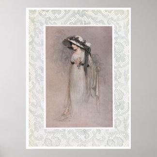 Mujer del vintage en poster del Victorian del gorr
