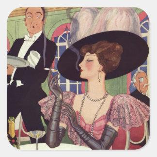 Mujer del vintage que bebe el cigarrillo que fuma pegatina cuadrada