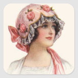 Mujer del vintage y pegatina del gorra