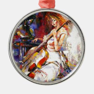Mujer del Watercolour que juega Chello Adorno Navideño Redondo De Metal