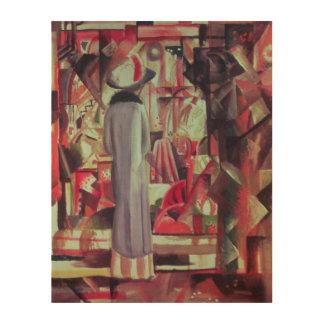 Mujer delante de una ventana iluminada grande cuadros de madera