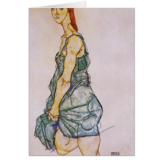 Mujer derecha vertical de Egon Schiele- Tarjeta De Felicitación