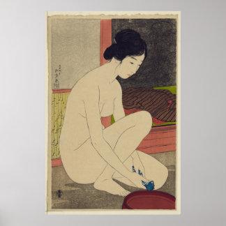Mujer después del baño - reimpresión japonesa del  póster