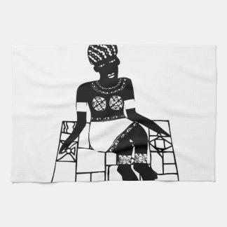 Mujer, dibujo africano toallas de mano