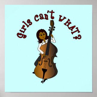 Mujer doble del bajista de la secuencia vertical póster