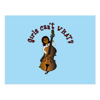 Mujer doble del bajista de la secuencia vertical tarjetas postales