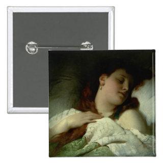 Mujer durmiente pin cuadrada 5 cm