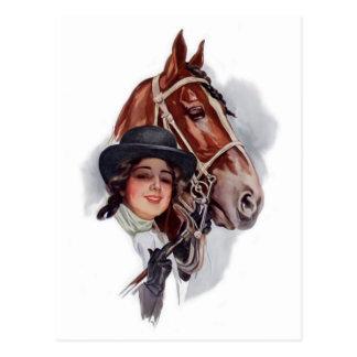 Mujer ecuestre postal