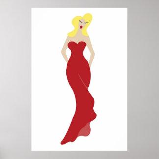 mujer elegante en un vestido rojo póster