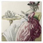 """Mujer elegante en un vestido """"un l'Anglaise"""" C de  Azulejo Cuadrado Grande"""