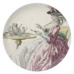 """Mujer elegante en un vestido """"un l'Anglaise"""" C de  Plato De Comida"""
