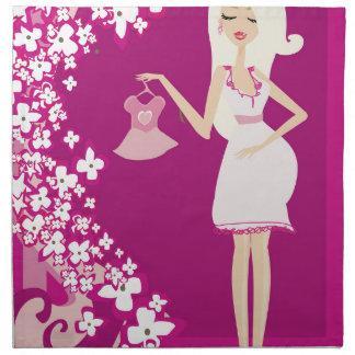mujer embarazada del blonde servilletas imprimidas