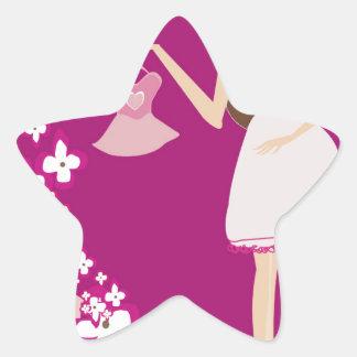 mujer embarazada del brunette pegatina en forma de estrella