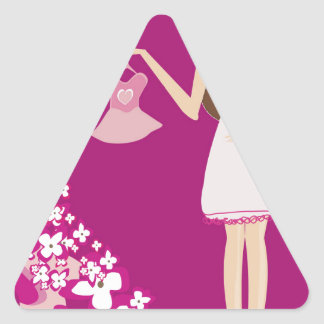 mujer embarazada del brunette pegatina triangular