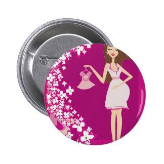 mujer embarazada del brunette pin redondo 5 cm