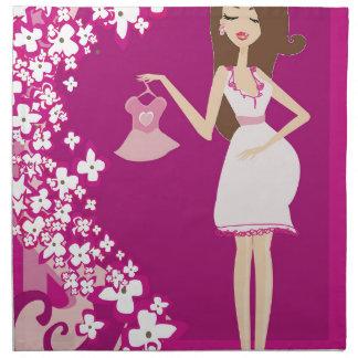 mujer embarazada del brunette servilleta de papel