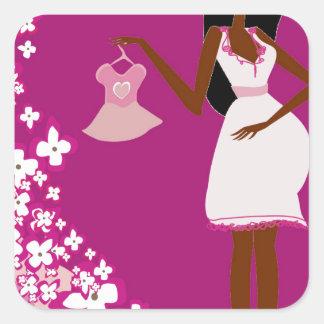 mujer embarazada negra pegatina cuadrada