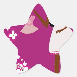 mujer embarazada negra pegatina en forma de estrella