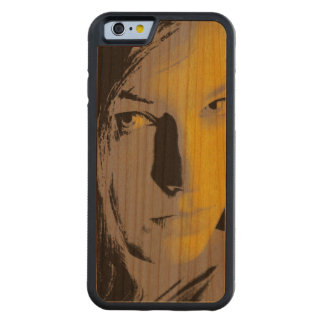 Mujer en amarillo funda de iPhone 6 bumper cerezo