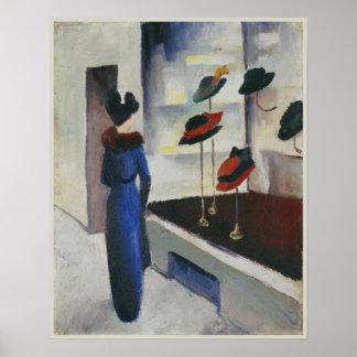 Mujer en azul en la tienda de gorra August Macke 1 Poster