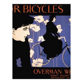 Mujer en bicicleta negra del montar a caballo membrete a diseño