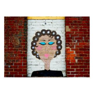 Mujer en bigudíes tarjetas de visita grandes