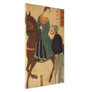 Mujer en caballo; Cigarrillo que fuma del hombre Lona Estirada Galerias