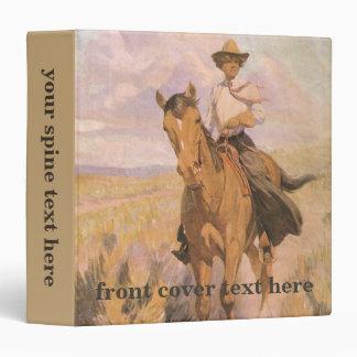 """Mujer en caballo por Dunton, vaquero de la vaquera Carpeta 1 1/2"""""""
