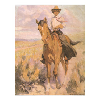 Mujer en caballo por Dunton vaquero de la vaquera Comunicados Personalizados