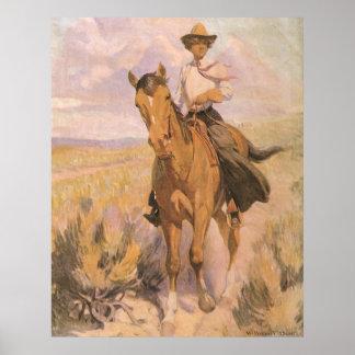 Mujer en caballo por Dunton, vaquero de la vaquera Impresiones