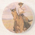 Mujer en caballo por Dunton, vaquero de la vaquera Posavasos Personalizados