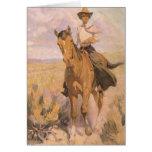 Mujer en caballo por Dunton, vaquero de la vaquera Tarjeta De Felicitación