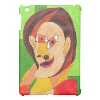 Mujer en caja roja y amarilla del iPad