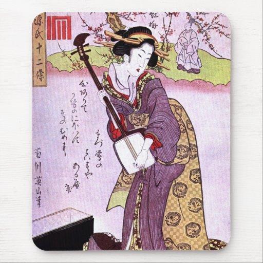 Mujer en el arte japonés Mousepad del vintage púrp Alfombrilla De Raton