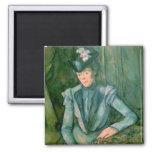 Mujer en el azul 1900-02 imán cuadrado