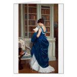 Mujer en el azul, leyendo un libro felicitación