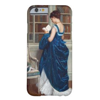 Mujer en el azul, leyendo un libro funda de iPhone 6 barely there