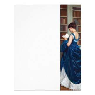 Mujer en el azul, leyendo un libro membrete a diseño