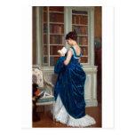 Mujer en el azul, leyendo un libro postal