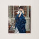 Mujer en el azul, leyendo un libro rompecabezas con fotos