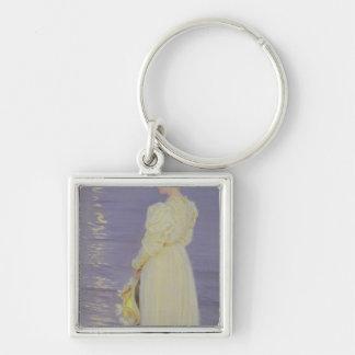 Mujer en el blanco en una playa, 1893 llavero personalizado