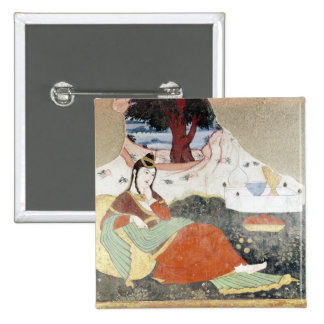 Mujer en el jardín de Shah Abbas I Pin Cuadrado
